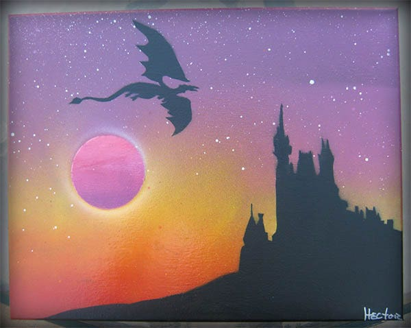 spray paint art dragon