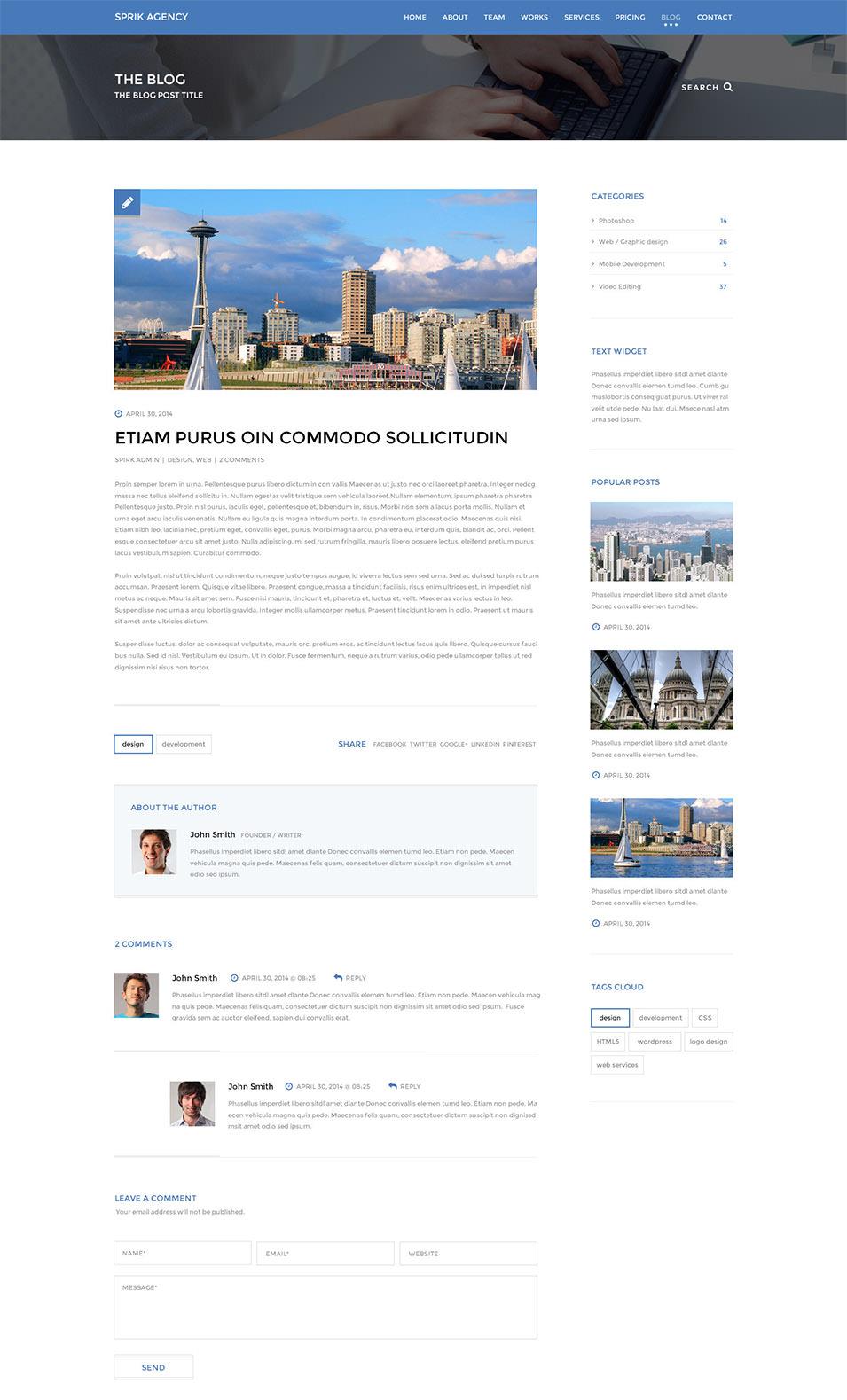 sprik multi purpose parallax psd landing page