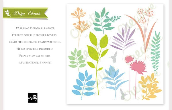 Spring Design Elements Set