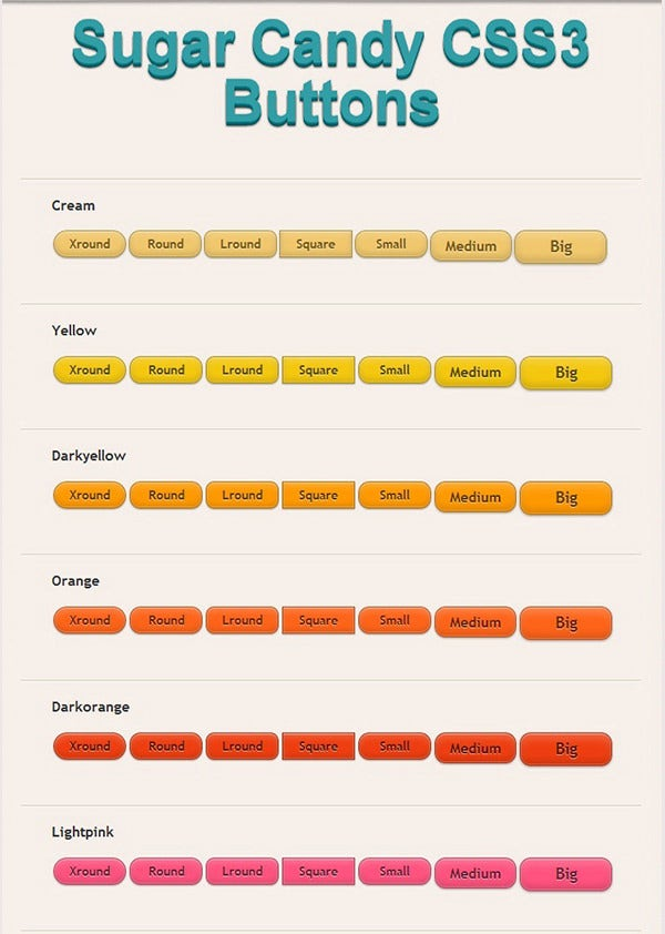 Sugar Candy CSS3 Buttons
