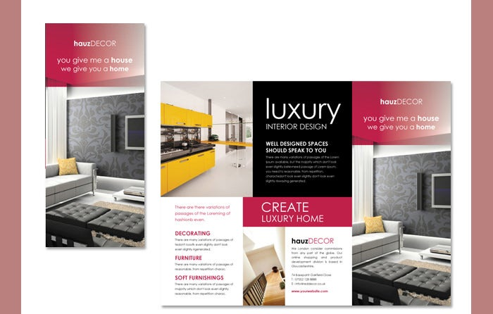 22 interior decoration brochure templates word psd for Interior design brochure