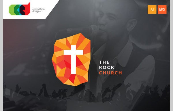 the rock church logo template