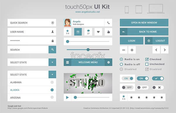 touch 50px ui kit psd