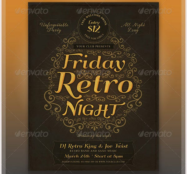 typographic retro flyer template