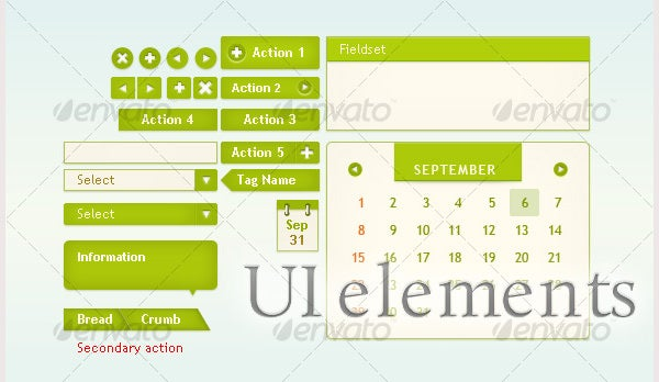 UI elements for web interface