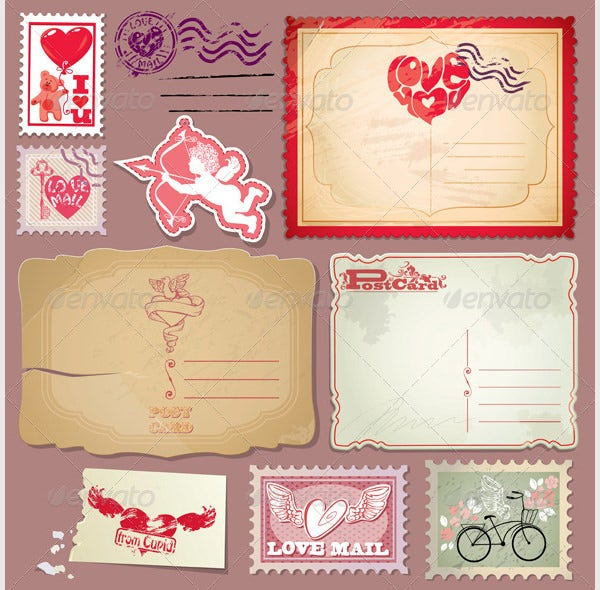 Valentine's Vintage Postcards and Post Stamps Set