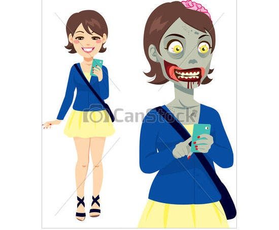 vector zombie girl smartphone