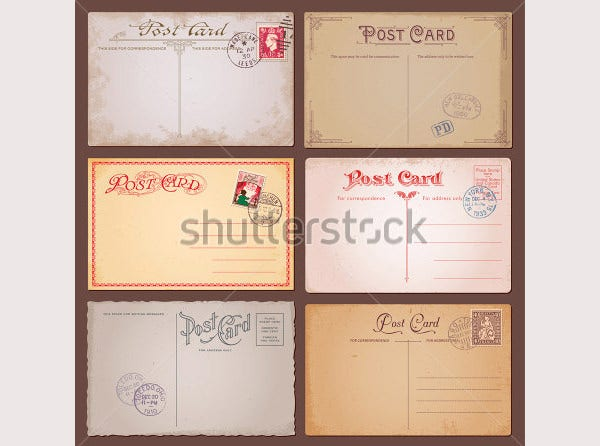 vector set of vintage postcards with stamps