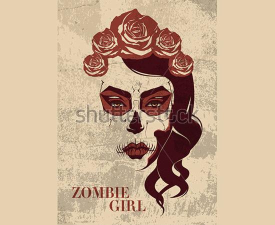 vector zombie girl