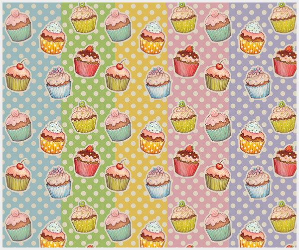 vintage cupcake pattern