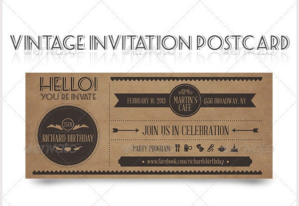 Vintage Invitation Postcard
