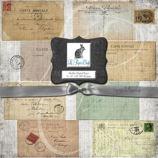 vintage postcard digital paper