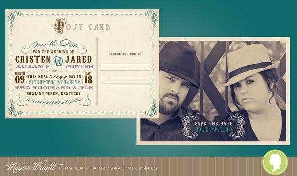 vintage postcard save the dates