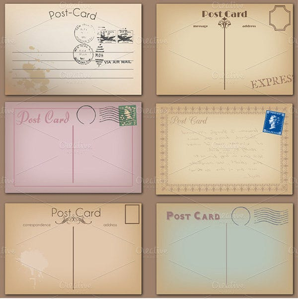 Best Vintage Postcard Design Templates For Inspirations Free - Card template free: postcard mailing template
