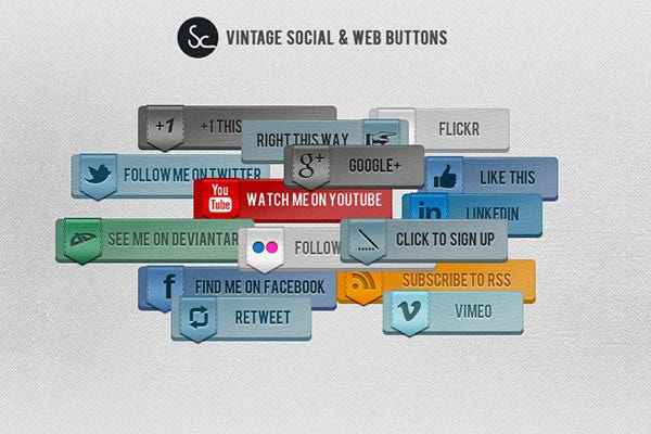 vintage social and web button