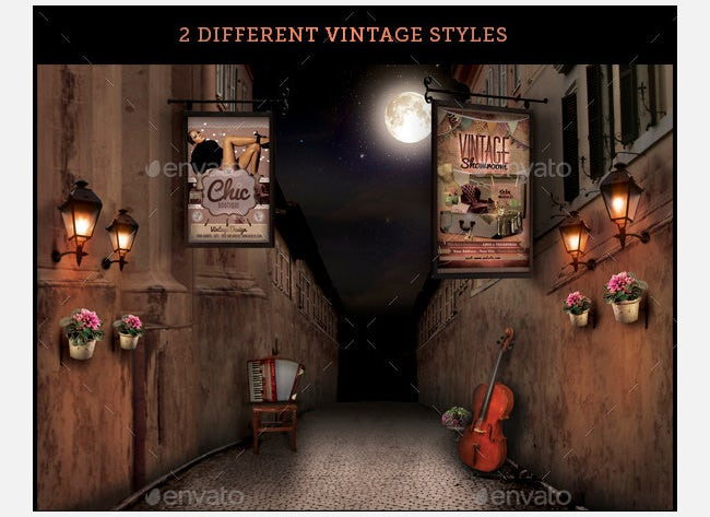 vintage streets mock up templates