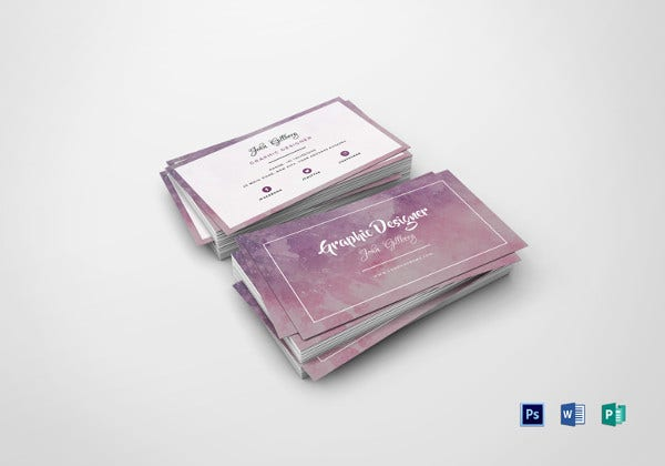 watercolor graphic designer business card template