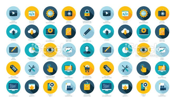 web design development flat icons