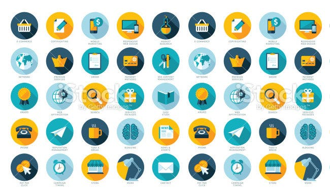 web marketing flat design icons