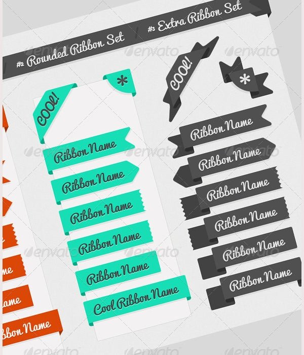 website web element ribbons