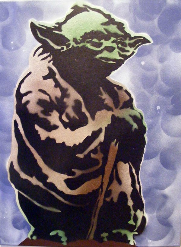 yoda star wars spray paint stencil art