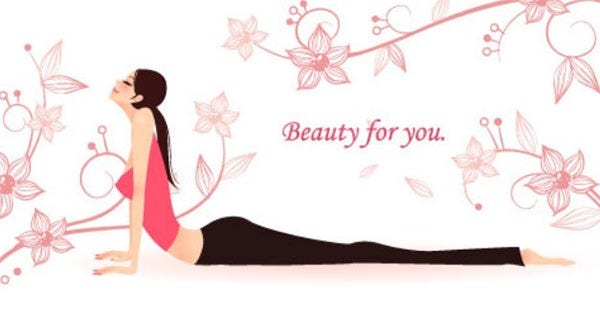 yoga girls with fresh floral background illustration vector 03