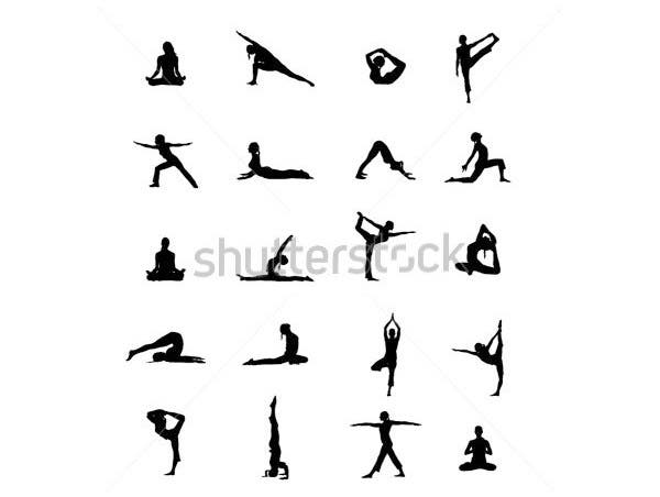 yoga positions black vector