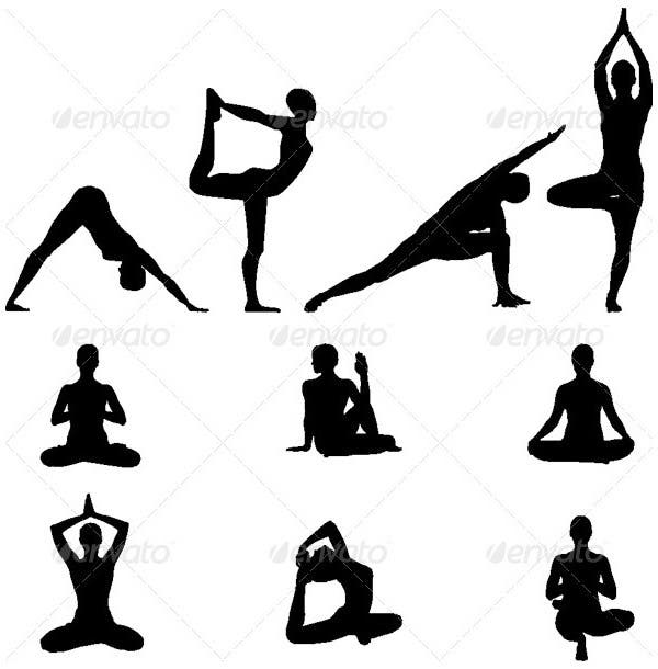 yoga silhouettes vector illustration set