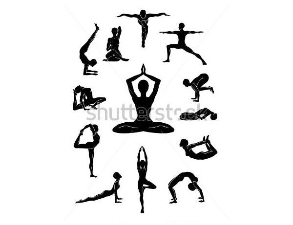 yoga figures isolated