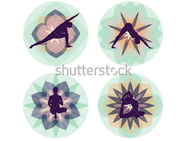 yoga silhouettes floral background