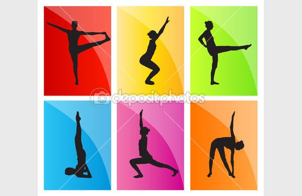 yoga vector background set