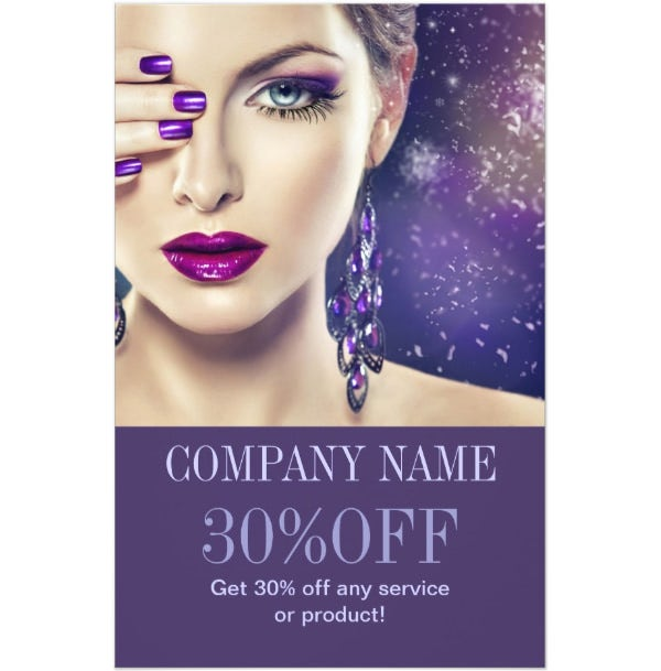 fashion purple nails beauty salon makeup artist flyer