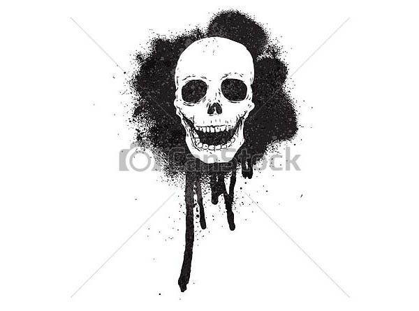 graffiti spray paint stencil skull