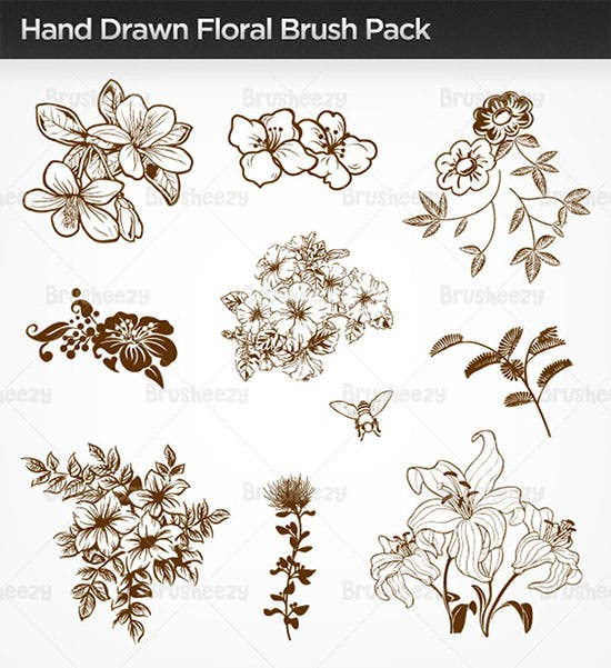 hand drawn floral brush pack1
