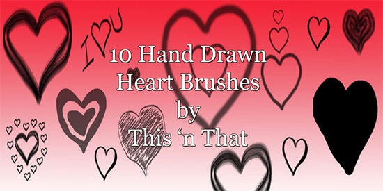 hand drawn heart brushes 2