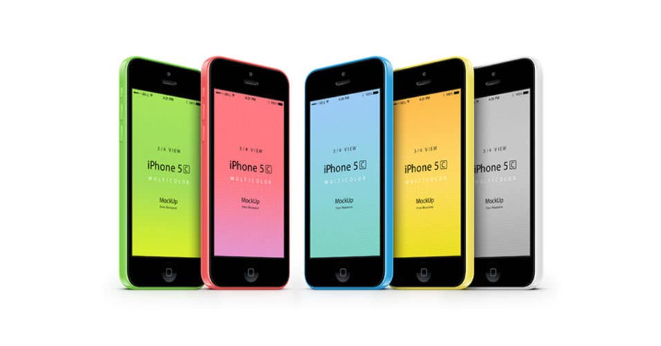 iPhone 5C 3-Qarter View Mockup