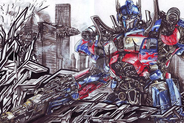 optimus prime in graffiti completed