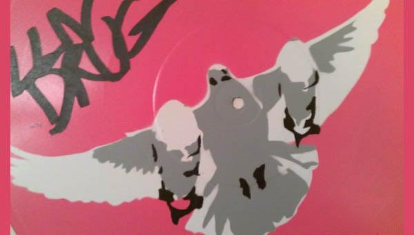 pink stencil art