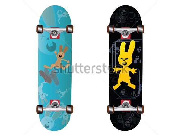skateboard design with bunny skating