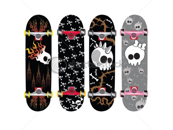 skateboard design with skull and bones