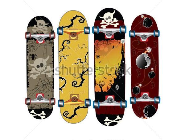 skateboard design with skull thorns
