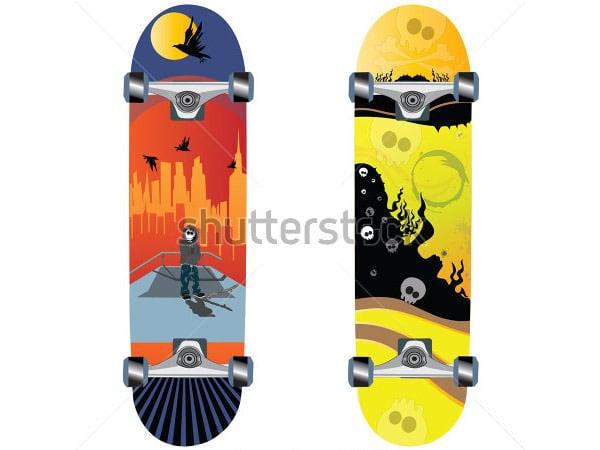 skateboard design with skull
