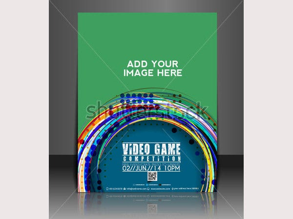 stock vector vector video game brochure flyer magazine cover poster template 141696187