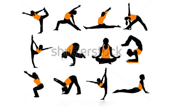 stock vector yoga poses