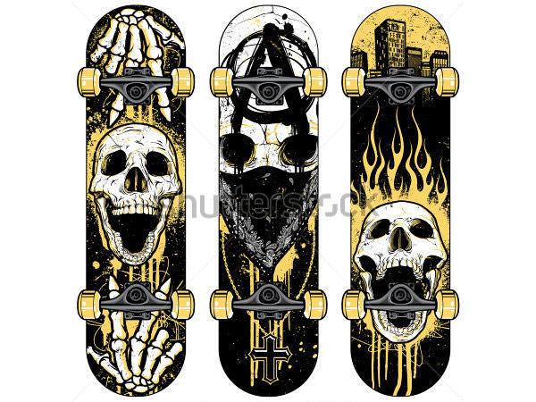 vector skull themed skateboards