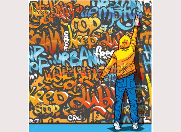 vector young man painting graffiti on a wall