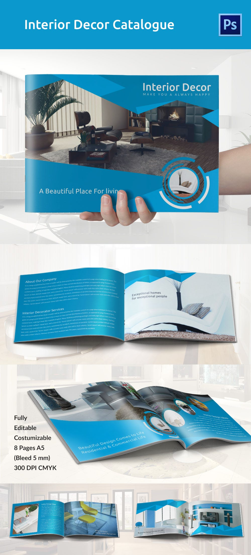 interior decoration brochure word psd pdf eps interior decor a5 catalogue template