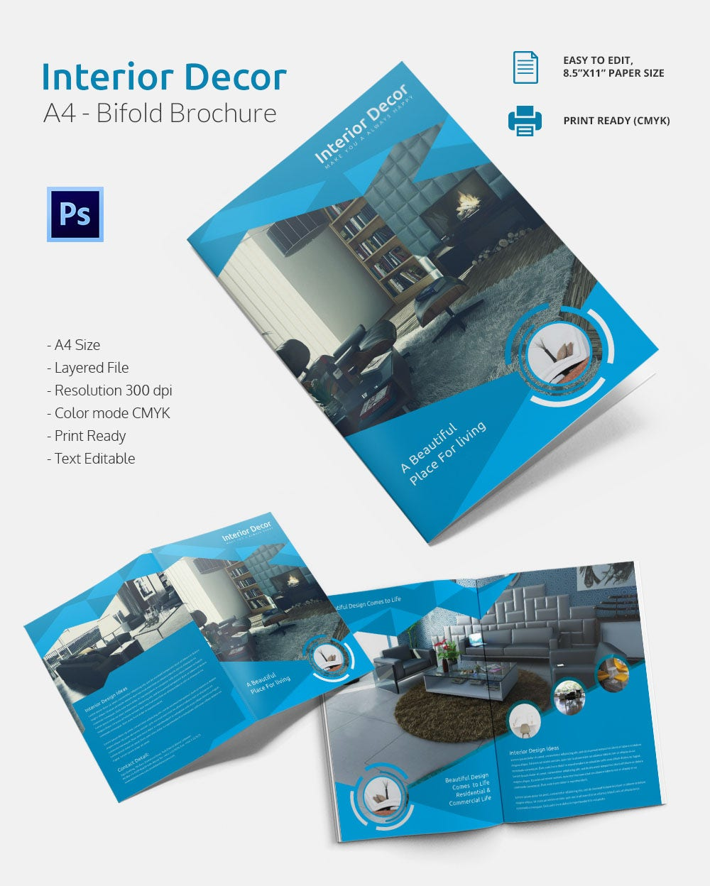 Interior Decor A4 Bi Fold Brochure