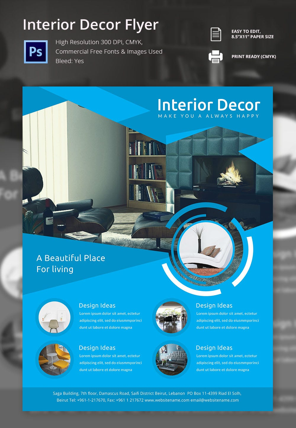 interior decoration brochure word psd pdf eps beautiful interior decor flyer template