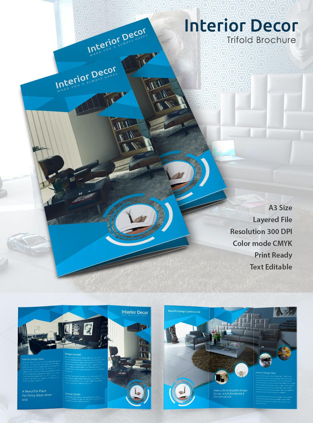 Editable interior Decor Tri Fold Brochure